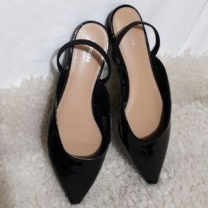 EXPRESS Black Back Strap Pointy Shoes